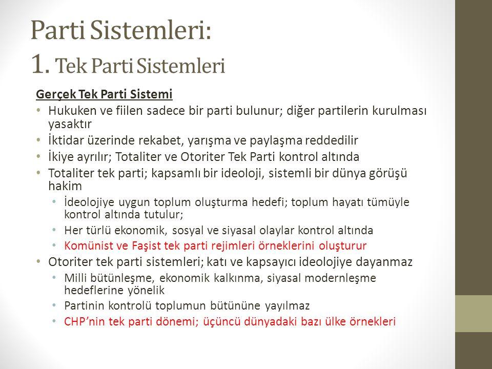 Parti Sistemleri: 1. Tek Parti Sistemleri Gerçek Tek Parti Sistemi • Hukuken ve fiilen sadece bir parti bulunur; diğer partilerin kurulması yasaktır •