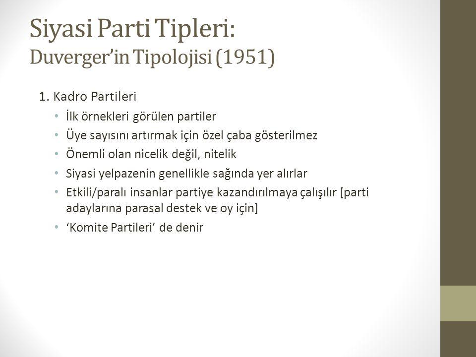 Siyasi Parti Tipleri: Duverger'in Tipolojisi (1951) 1. Kadro Partileri • İlk örnekleri görülen partiler • Üye sayısını artırmak için özel çaba gösteri
