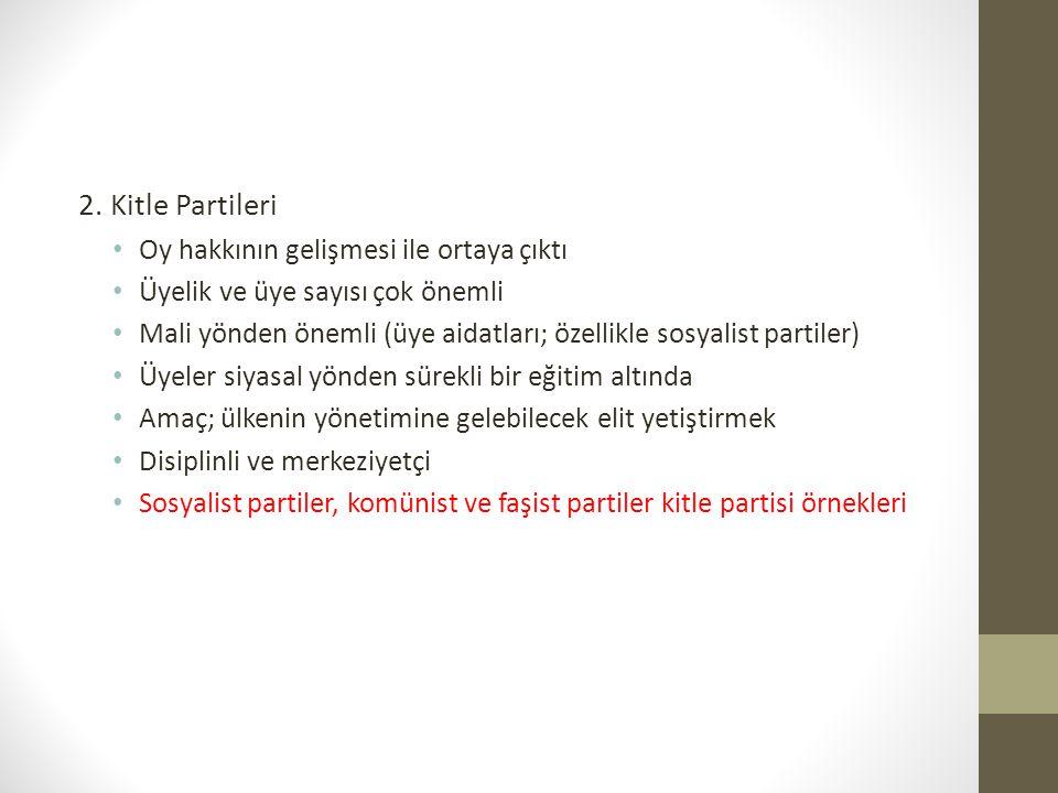 3.Ara partiler [Duverger'in eklediği üçüncü tip] • Başlıca iki tipi vardır; a.