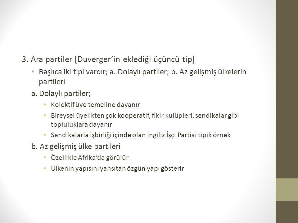 3. Ara partiler [Duverger'in eklediği üçüncü tip] • Başlıca iki tipi vardır; a. Dolaylı partiler; b. Az gelişmiş ülkelerin partileri a. Dolaylı partil