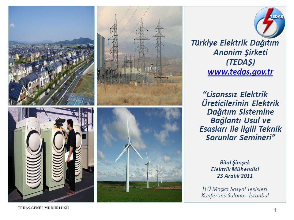 Sunum İçeriği 1)Türkiye Elektrik Piyasası 2)Dağıtım Şirketleri ve Özelleştirmede Son Durum 3)Dağıtık Üretim Santralleri 4)Lisanssız Elektrik Üretimi 5)Sonuçlar 2 TEDAŞ GENEL MÜDÜRLÜĞÜ