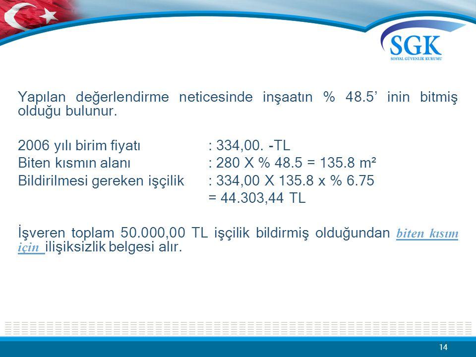 Yapılan değerlendirme neticesinde inşaatın % 48.5' inin bitmiş olduğu bulunur. 2006 yılı birim fiyatı : 334,00. -TL Biten kısmın alanı: 280 X % 48.5 =