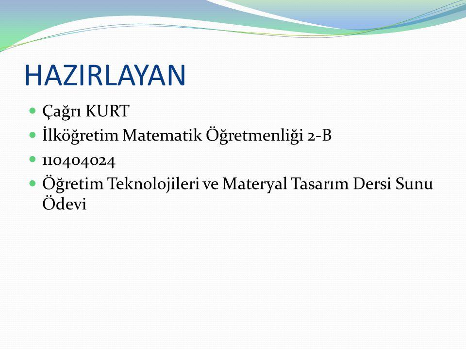 HAZIRLAYAN  Çağrı KURT  İlköğretim Matematik Öğretmenliği 2-B  110404024  Öğretim Teknolojileri ve Materyal Tasarım Dersi Sunu Ödevi