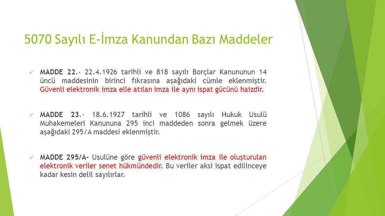 5070 Sayılı E-İmza Kanundan Bazı Maddeler  MADDE 22.- 22.4.1926 tarihli ve 818 sayılı Borçlar Kanununun 14 üncü maddesinin birinci fıkrasına aşağıdak