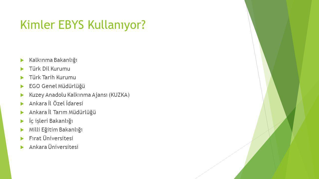 Kimler EBYS Kullanıyor?  Kalkınma Bakanlığı  Türk Dil Kurumu  Türk Tarih Kurumu  EGO Genel Müdürlüğü  Kuzey Anadolu Kalkınma Ajansı (KUZKA)  Ank