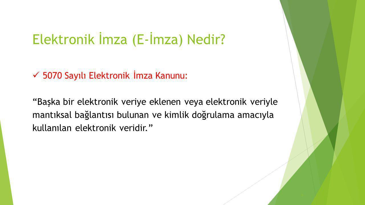 """Elektronik İmza (E-İmza) Nedir?  5070 Sayılı Elektronik İmza Kanunu: """"Başka bir elektronik veriye eklenen veya elektronik veriyle mantıksal bağlantıs"""