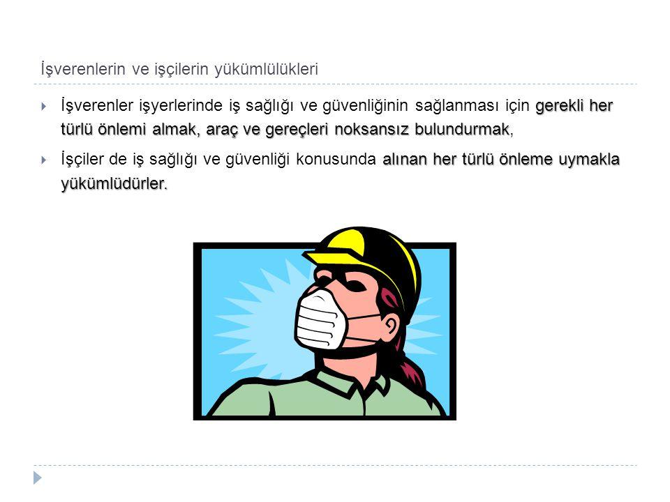 İşverenlerin ve işçilerin yükümlülükleri gerekli her türlü önlemi almak, araç ve gereçleri noksansız bulundurmak  İşverenler işyerlerinde iş sağlığı