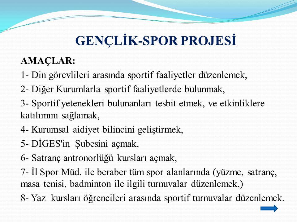 GENÇLİK-SPOR PROJESİ AMAÇLAR: 1- Din görevlileri arasında sportif faaliyetler düzenlemek, 2- Diğer Kurumlarla sportif faaliyetlerde bulunmak, 3- Sport