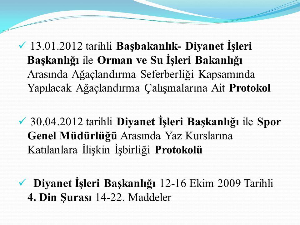  13.01.2012 tarihli Başbakanlık- Diyanet İşleri Başkanlığı ile Orman ve Su İşleri Bakanlığı Arasında Ağaçlandırma Seferberliği Kapsamında Yapılacak A