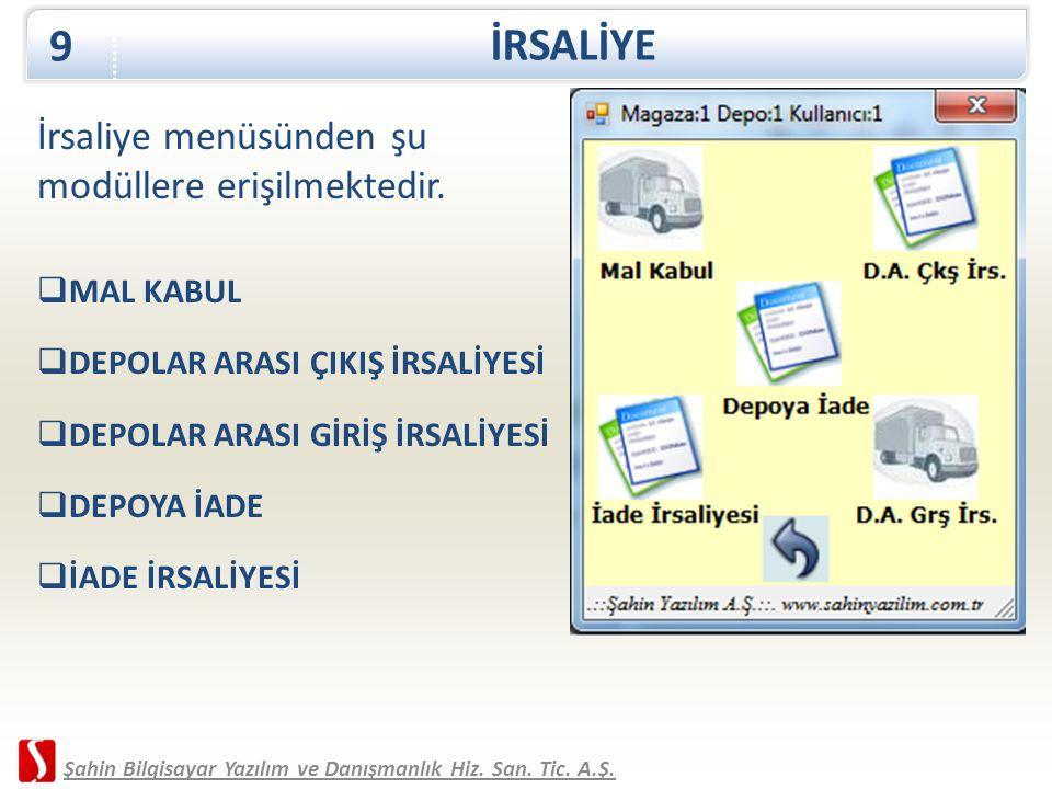 İRSALİYE 9 Şahin Bilgisayar Yazılım ve Danışmanlık Hiz. San. Tic. A.Ş. İrsaliye menüsünden şu modüllere erişilmektedir.  MAL KABUL  DEPOLAR ARASI ÇI