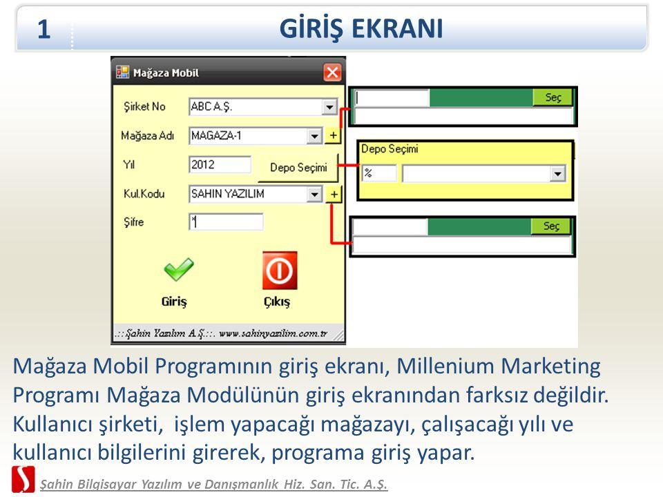Mağaza Mobil Programının giriş ekranı, Millenium Marketing Programı Mağaza Modülünün giriş ekranından farksız değildir. Kullanıcı şirketi, işlem yapac