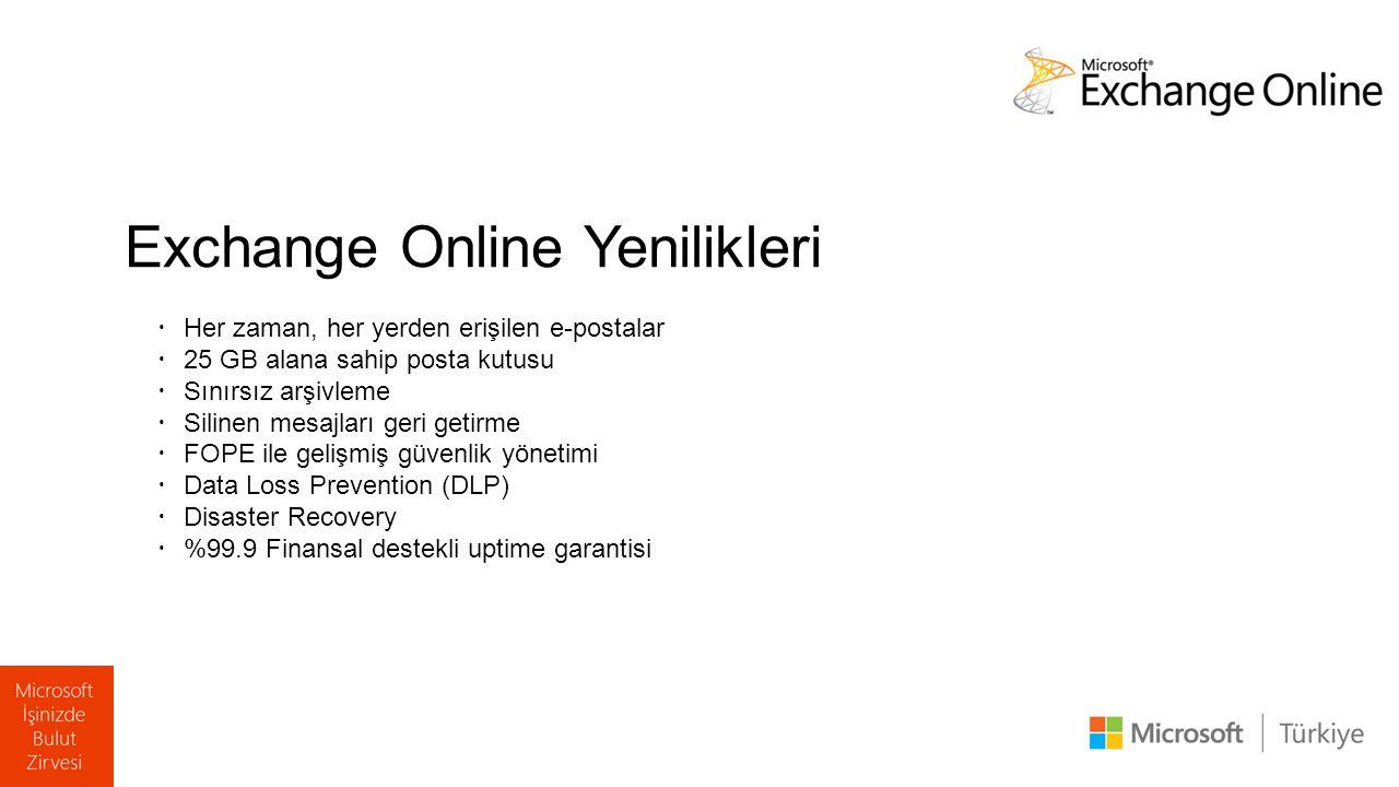 Exchange Online Yenilikleri  Her zaman, her yerden erişilen e-postalar  25 GB alana sahip posta kutusu  Sınırsız arşivleme  Silinen mesajları geri getirme  FOPE ile gelişmiş güvenlik yönetimi  Data Loss Prevention (DLP)  Disaster Recovery  %99.9 Finansal destekli uptime garantisi