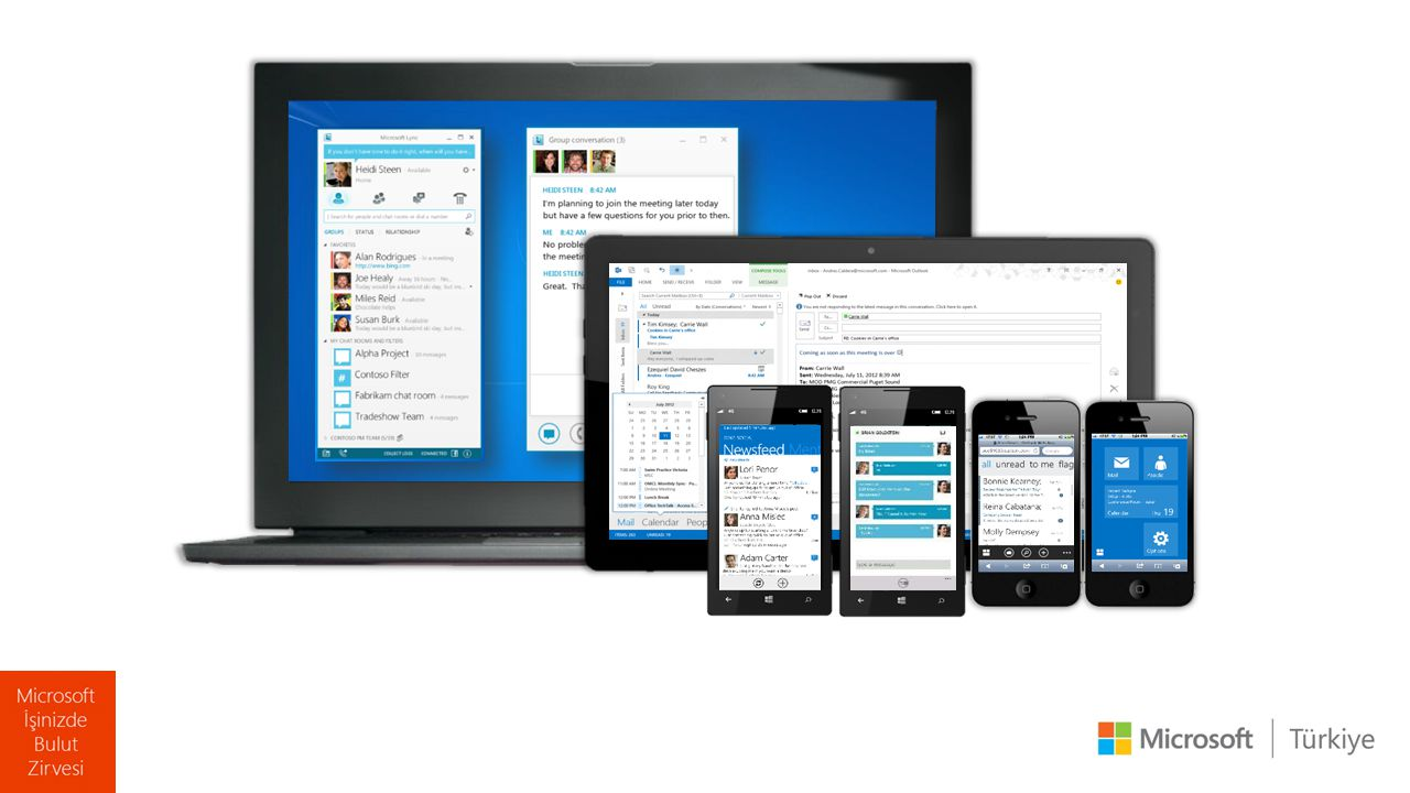 Lync Online Yenilikleri  PC, akıllı telefon ve tabletler ile kullanım  HD görüntü ve ses desteği  Uzak masaüstü uygulamaları  OWA ile entegre çalışma  Santral entegrasyonu ile kurumsal ses uygulamaları  Skype federasyonu