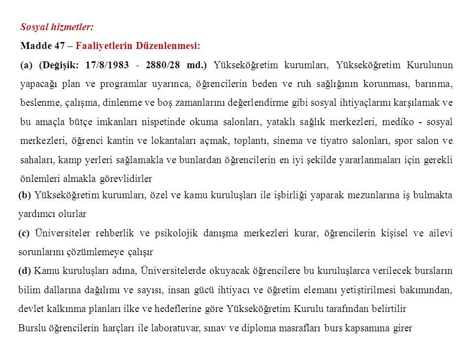 Sosyal hizmetler: Madde 47 – Faaliyetlerin Düzenlenmesi: (a) (Değişik: 17/8/1983 - 2880/28 md.) Yükseköğretim kurumları, Yükseköğretim Kurulunun yapac