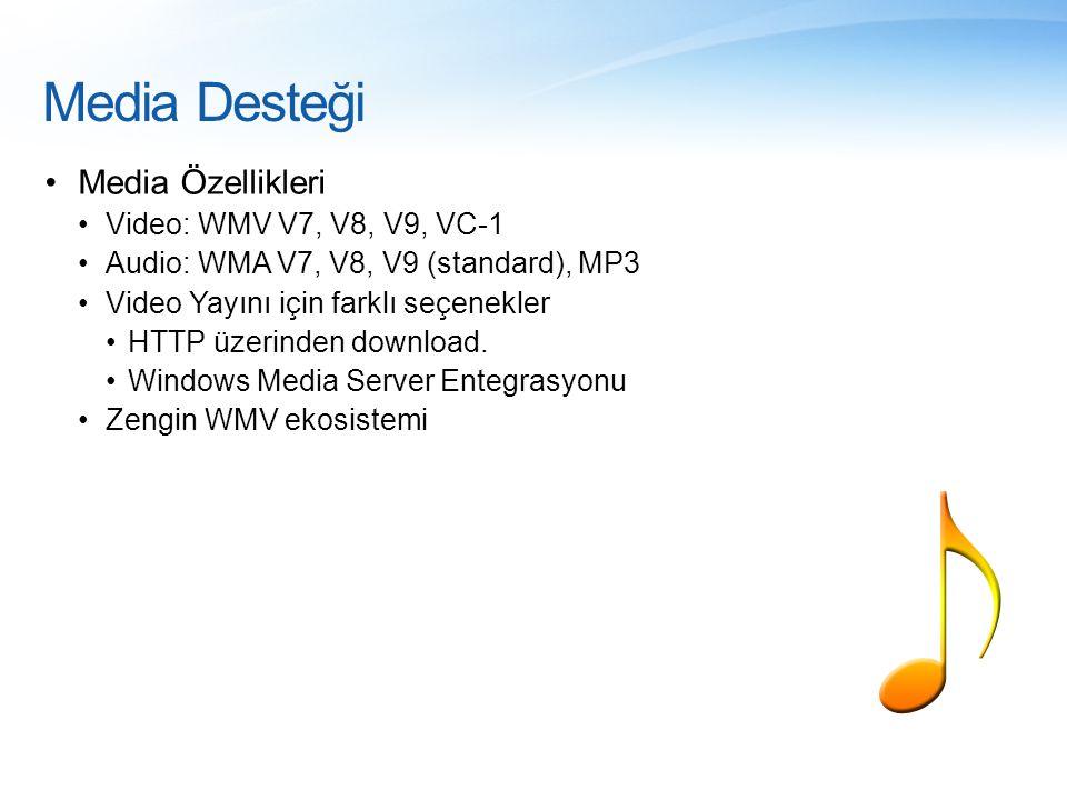 Media Desteği •Media Özellikleri •Video: WMV V7, V8, V9, VC-1 •Audio: WMA V7, V8, V9 (standard), MP3 •Video Yayını için farklı seçenekler •HTTP üzerin