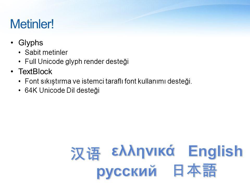Metinler! •Glyphs •Sabit metinler •Full Unicode glyph render desteği •TextBlock •Font sıkıştırma ve istemci taraflı font kullanımı desteği. •64K Unico