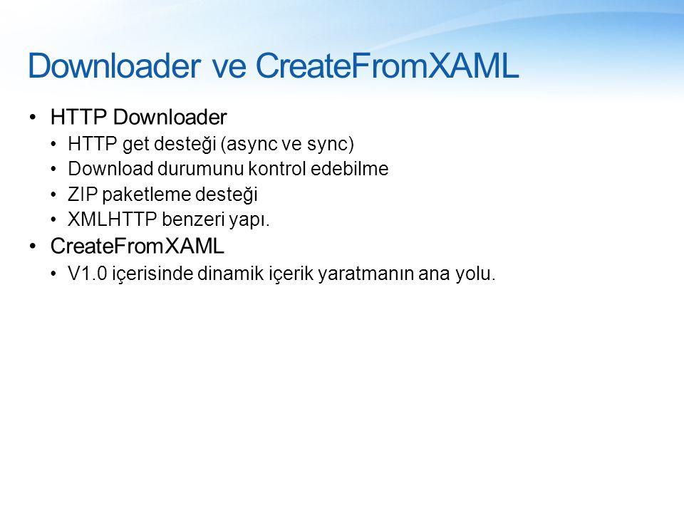 Downloader ve CreateFromXAML •HTTP Downloader •HTTP get desteği (async ve sync) •Download durumunu kontrol edebilme •ZIP paketleme desteği •XMLHTTP be