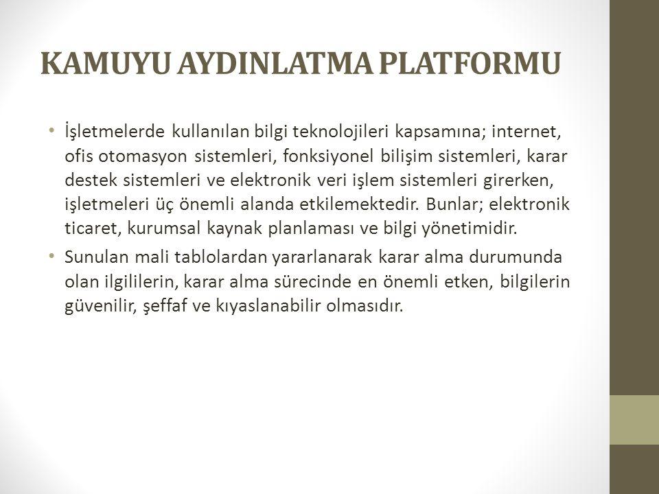 KAMUYU AYDINLATMA PLATFORMU • İşletmelerde kullanılan bilgi teknolojileri kapsamına; internet, ofis otomasyon sistemleri, fonksiyonel bilişim sistemle