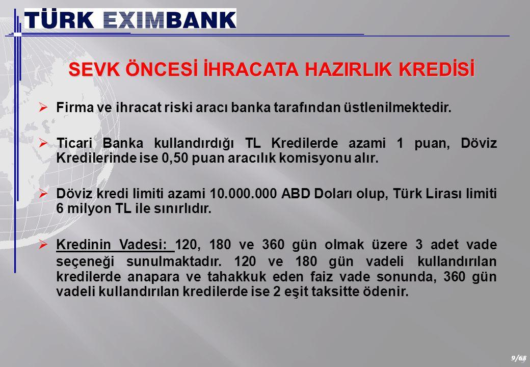 9 9/68   Firma ve ihracat riski aracı banka tarafından üstlenilmektedir.