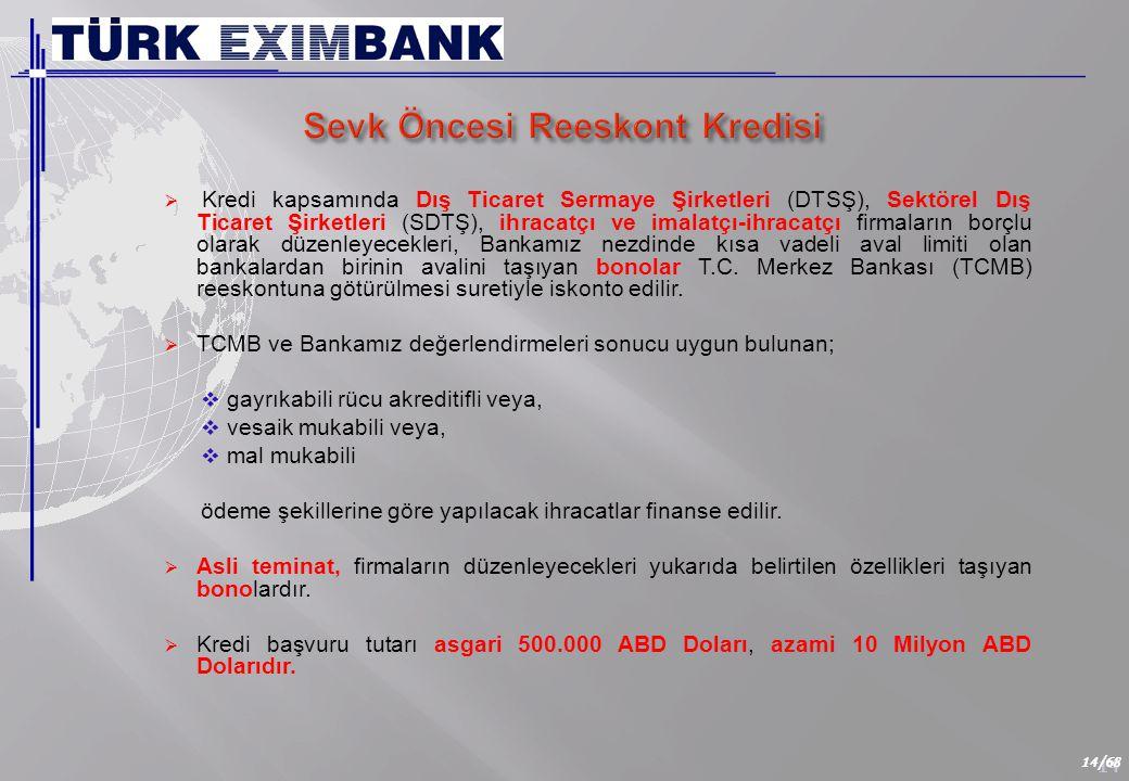 14 14/68  Kredi kapsamında Dış Ticaret Sermaye Şirketleri (DTSŞ), Sektörel Dış Ticaret Şirketleri (SDTŞ), ihracatçı ve imalatçı-ihracatçı firmaların borçlu olarak düzenleyecekleri, Bankamız nezdinde kısa vadeli aval limiti olan bankalardan birinin avalini taşıyan bonolar T.C.