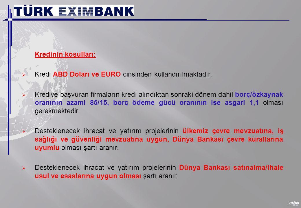 20 20/68 Kredinin koşulları:  Kredi ABD Doları ve EURO cinsinden kullandırılmaktadır.