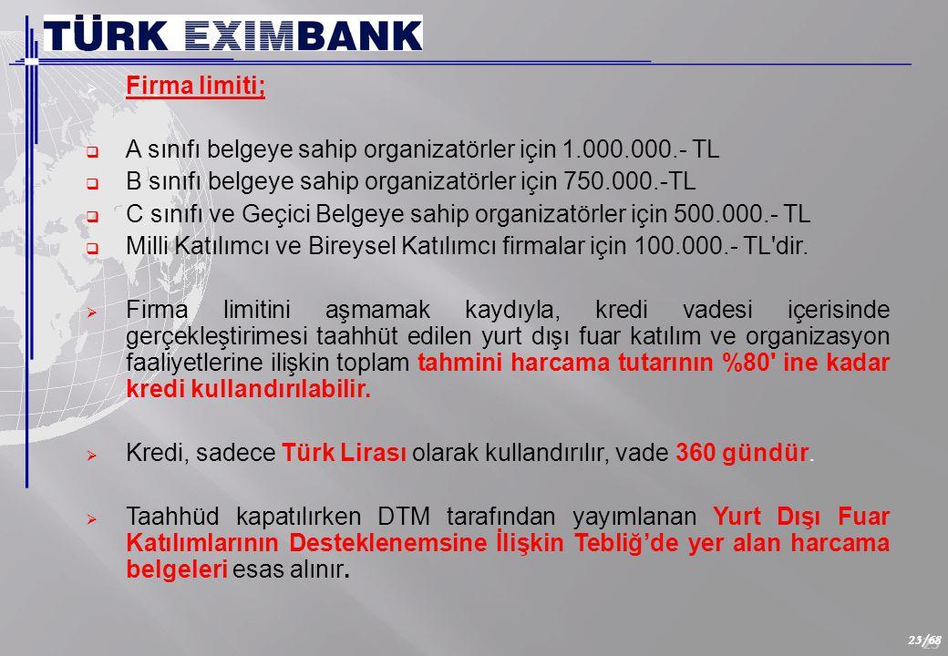 23 23/68  Firma limiti;  A sınıfı belgeye sahip organizatörler için 1.000.000.- TL  B sınıfı belgeye sahip organizatörler için 750.000.-TL  C sınıfı ve Geçici Belgeye sahip organizatörler için 500.000.- TL  Milli Katılımcı ve Bireysel Katılımcı firmalar için 100.000.- TL dir.