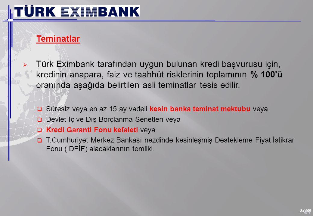 24 24/68 Teminatlar  Türk Eximbank tarafından uygun bulunan kredi başvurusu için, kredinin anapara, faiz ve taahhüt risklerinin toplamının % 100 ü oranında aşağıda belirtilen asli teminatlar tesis edilir.