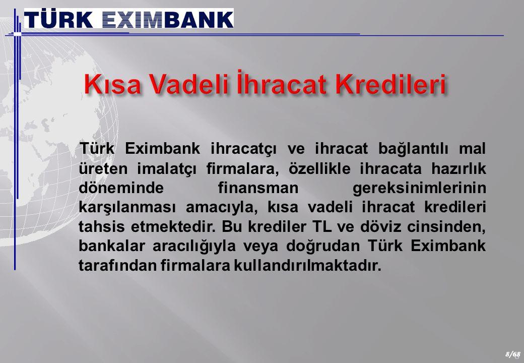 8 8/68 Türk Eximbank ihracatçı ve ihracat bağlantılı mal üreten imalatçı firmalara, özellikle ihracata hazırlık döneminde finansman gereksinimlerinin karşılanması amacıyla, kısa vadeli ihracat kredileri tahsis etmektedir.