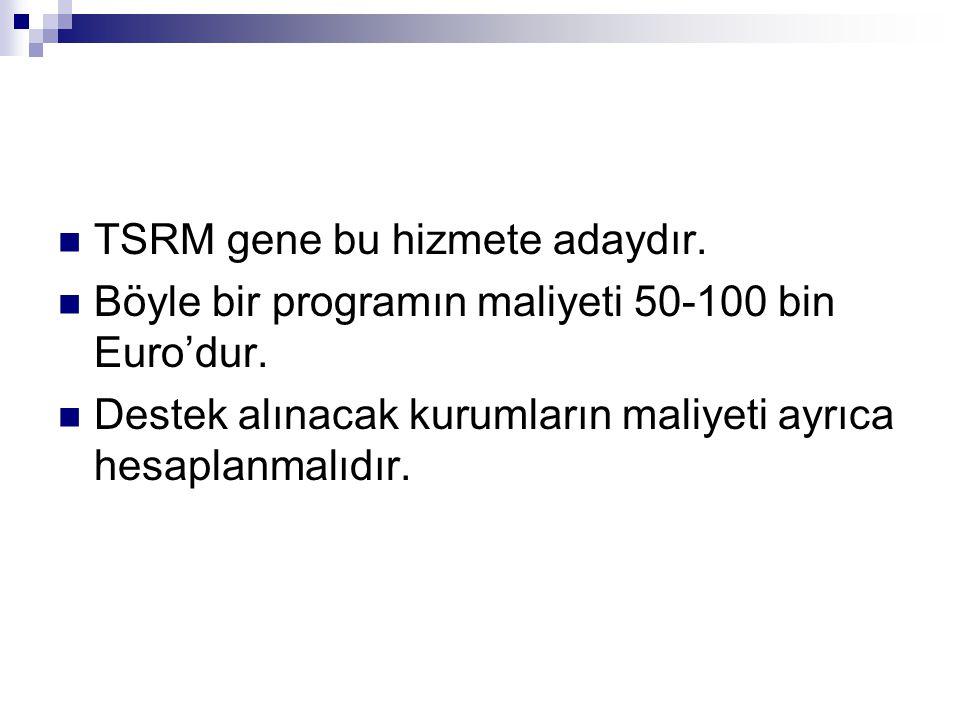  TSRM gene bu hizmete adaydır.  Böyle bir programın maliyeti 50-100 bin Euro'dur.  Destek alınacak kurumların maliyeti ayrıca hesaplanmalıdır.