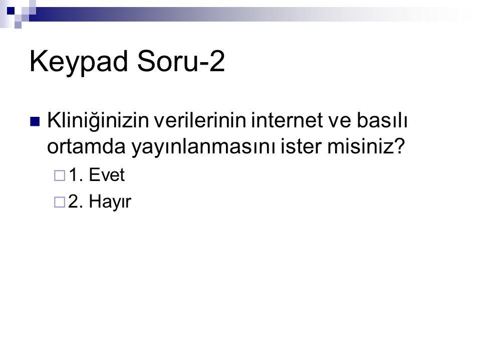 Keypad Soru-2  Kliniğinizin verilerinin internet ve basılı ortamda yayınlanmasını ister misiniz?  1. Evet  2. Hayır