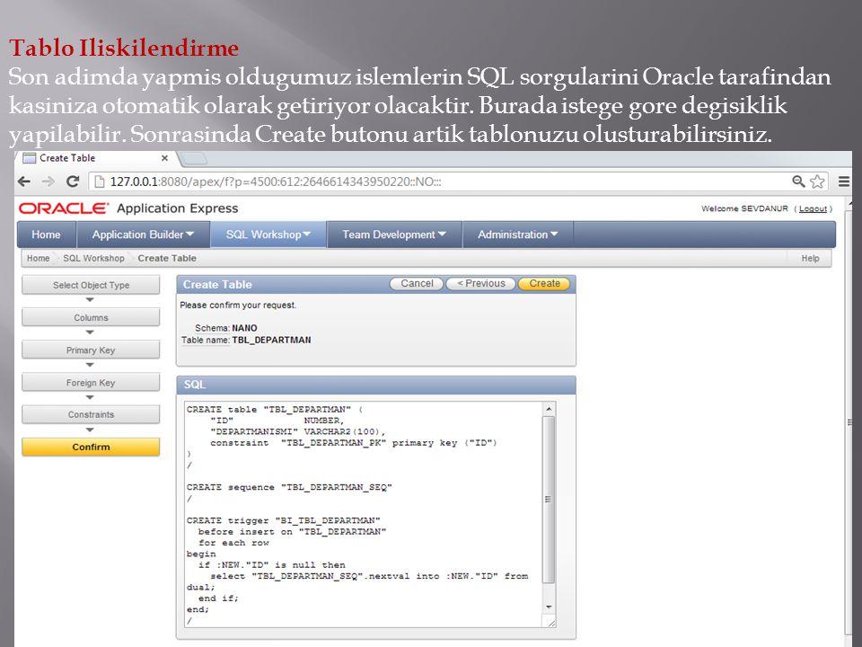 Tablo Iliskilendirme Son adimda yapmis oldugumuz islemlerin SQL sorgularini Oracle tarafindan kasiniza otomatik olarak getiriyor olacaktir.