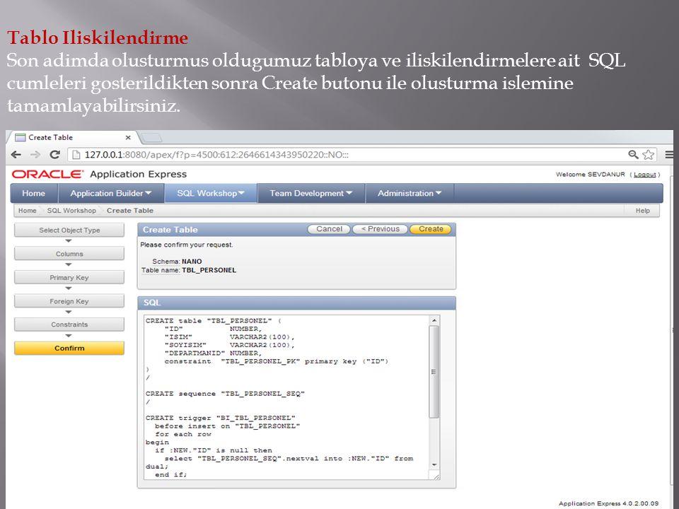 Tablo Iliskilendirme Son adimda olusturmus oldugumuz tabloya ve iliskilendirmelere ait SQL cumleleri gosterildikten sonra Create butonu ile olusturma