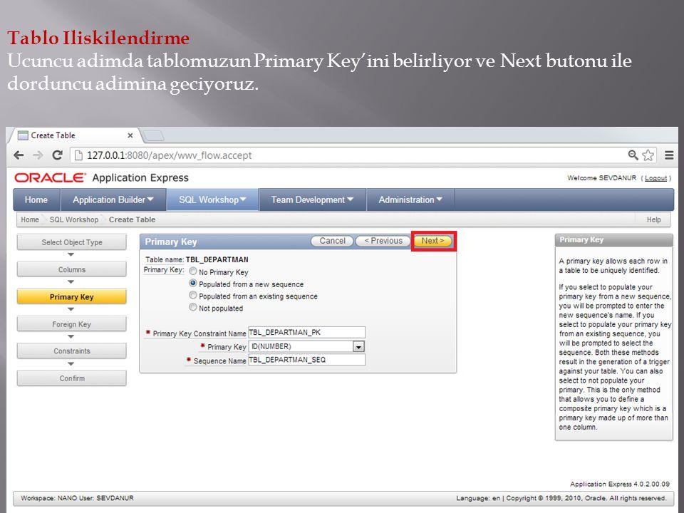 Tablo Iliskilendirme Ucuncu adimda tablomuzun Primary Key'ini belirliyor ve Next butonu ile dorduncu adimina geciyoruz.