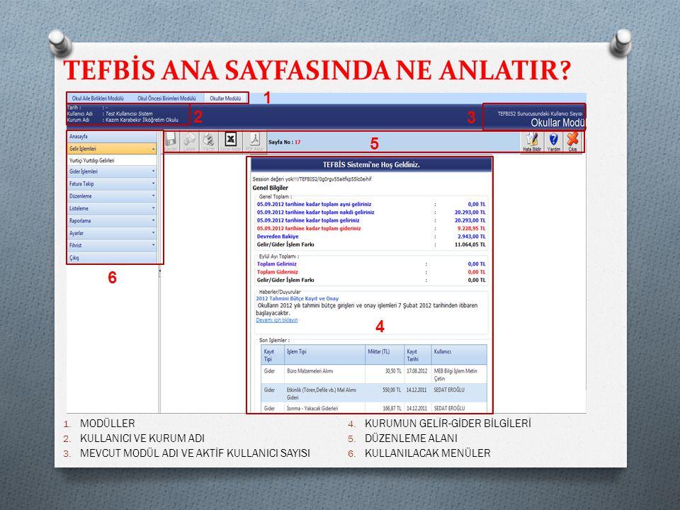 TEFBİS ANA SAYFASINDA NE ANLATIR.1. MODÜLLER 2. KULLANICI VE KURUM ADI 3.