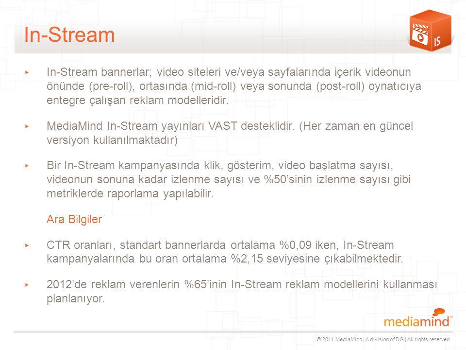 © 2011 MediaMind | A division of DG | All rights reserved In-Stream ▸ In-Stream bannerlar; video siteleri ve/veya sayfalarında içerik videonun önünde