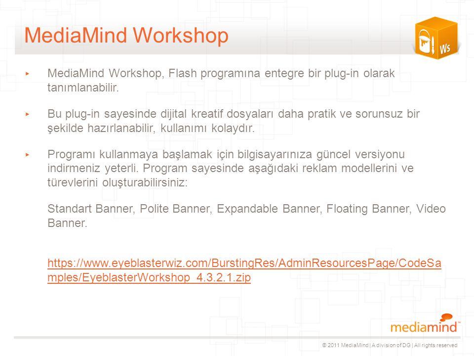 © 2011 MediaMind | A division of DG | All rights reserved MediaMind Workshop ▸ MediaMind Workshop, Flash programına entegre bir plug-in olarak tanımlanabilir.