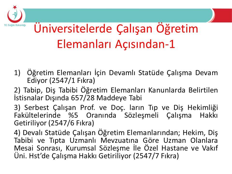 Üniversitelerde Çalışan Öğretim Elemanları Açısından-2 • 37 Madde İle Döner Sermaye Kapsamında Üniversite Dışında Çalışma Hakkı Devam Ediyor • 38 Madde İle Diğer Kamu Kurumlarında Çalışma Hakkı Devam Ediyor • 39 Madde İle Yurtiçinde ve Yurt Dışında Görevlendirme Devam Ediyor • 40 Madde İle Diğer Üniversitelerde Görevlendirme Devam Ediyor