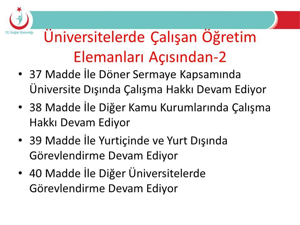 Üniversitelerde Çalışan Öğretim Elemanları Açısından-2 • 37 Madde İle Döner Sermaye Kapsamında Üniversite Dışında Çalışma Hakkı Devam Ediyor • 38 Madd