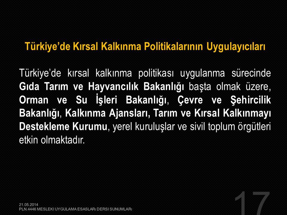 17 Türkiye'de Kırsal Kalkınma Politikalarının Uygulayıcıları Türkiye'de kırsal kalkınma politikası uygulanma sürecinde Gıda Tarım ve Hayvancılık Bakan