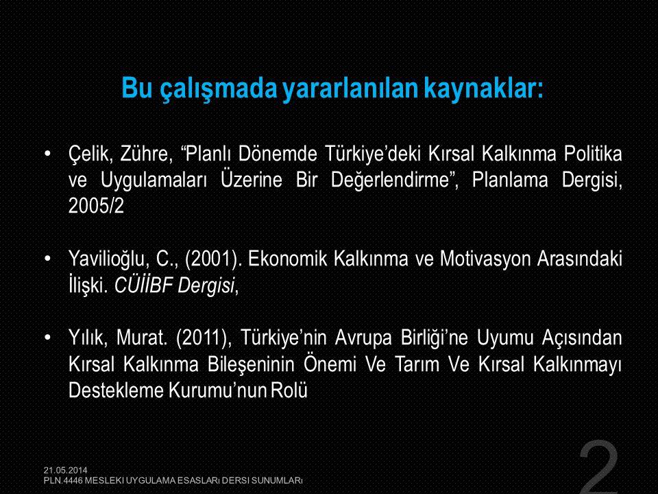 """2 Bu çalışmada yararlanılan kaynaklar: • Çelik, Zühre, """"Planlı Dönemde Türkiye'deki Kırsal Kalkınma Politika ve Uygulamaları Üzerine Bir Değerlendirme"""
