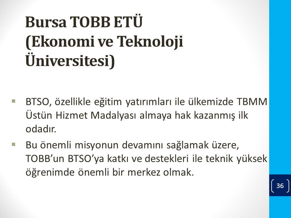 Bursa TOBB ETÜ (Ekonomi ve Teknoloji Üniversitesi)  BTSO, özellikle eğitim yatırımları ile ülkemizde TBMM Üstün Hizmet Madalyası almaya hak kazanmış ilk odadır.