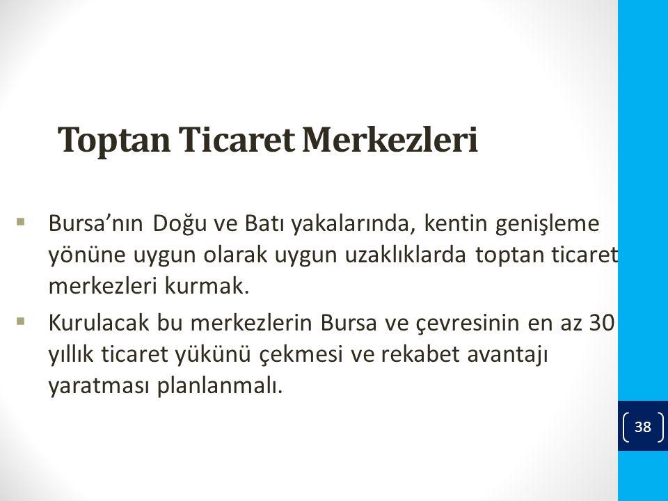 Toptan Ticaret Merkezleri  Bursa'nın Doğu ve Batı yakalarında, kentin genişleme yönüne uygun olarak uygun uzaklıklarda toptan ticaret merkezleri kurmak.