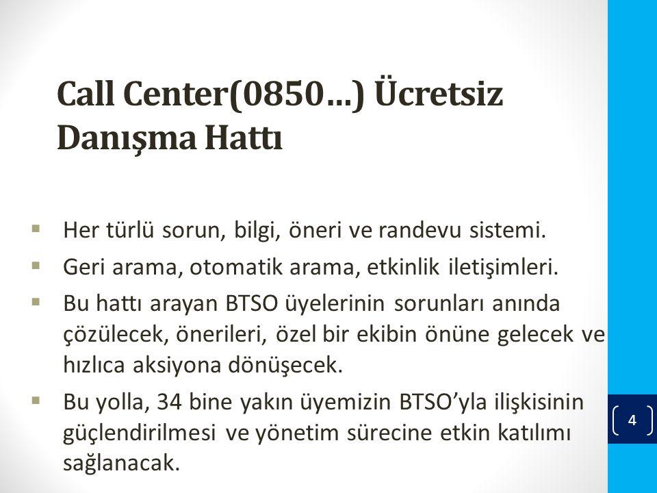 Call Center(0850…) Ücretsiz Danışma Hattı  Her türlü sorun, bilgi, öneri ve randevu sistemi.