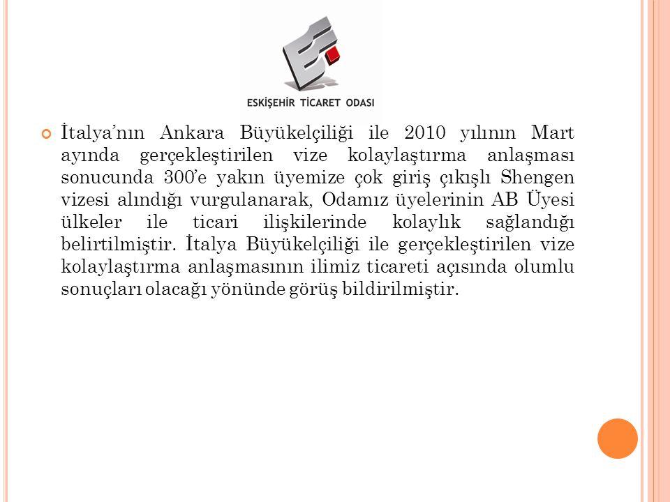 İtalya'nın Ankara Büyükelçiliği ile 2010 yılının Mart ayında gerçekleştirilen vize kolaylaştırma anlaşması sonucunda 300'e yakın üyemize çok giriş çıkışlı Shengen vizesi alındığı vurgulanarak, Odamız üyelerinin AB Üyesi ülkeler ile ticari ilişkilerinde kolaylık sağlandığı belirtilmiştir.