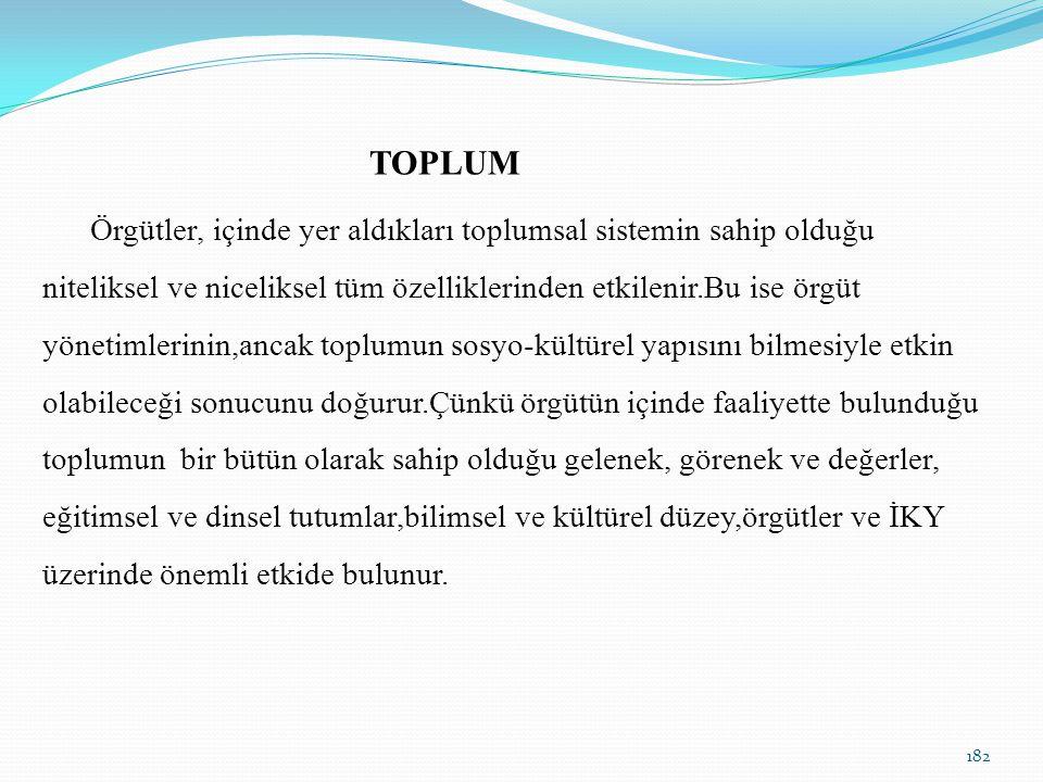 TOPLUM Örgütler, içinde yer aldıkları toplumsal sistemin sahip olduğu niteliksel ve niceliksel tüm özelliklerinden etkilenir.Bu ise örgüt yönetimlerin