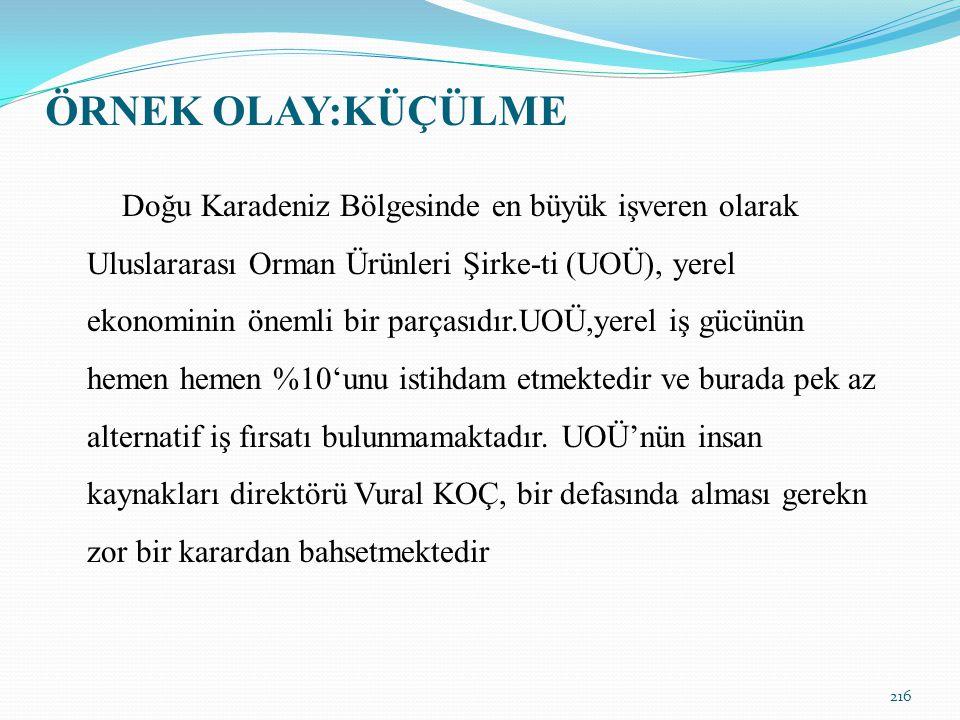 ÖRNEK OLAY:KÜÇÜLME Doğu Karadeniz Bölgesinde en büyük işveren olarak Uluslararası Orman Ürünleri Şirke-ti (UOÜ), yerel ekonominin önemli bir parçasıdı