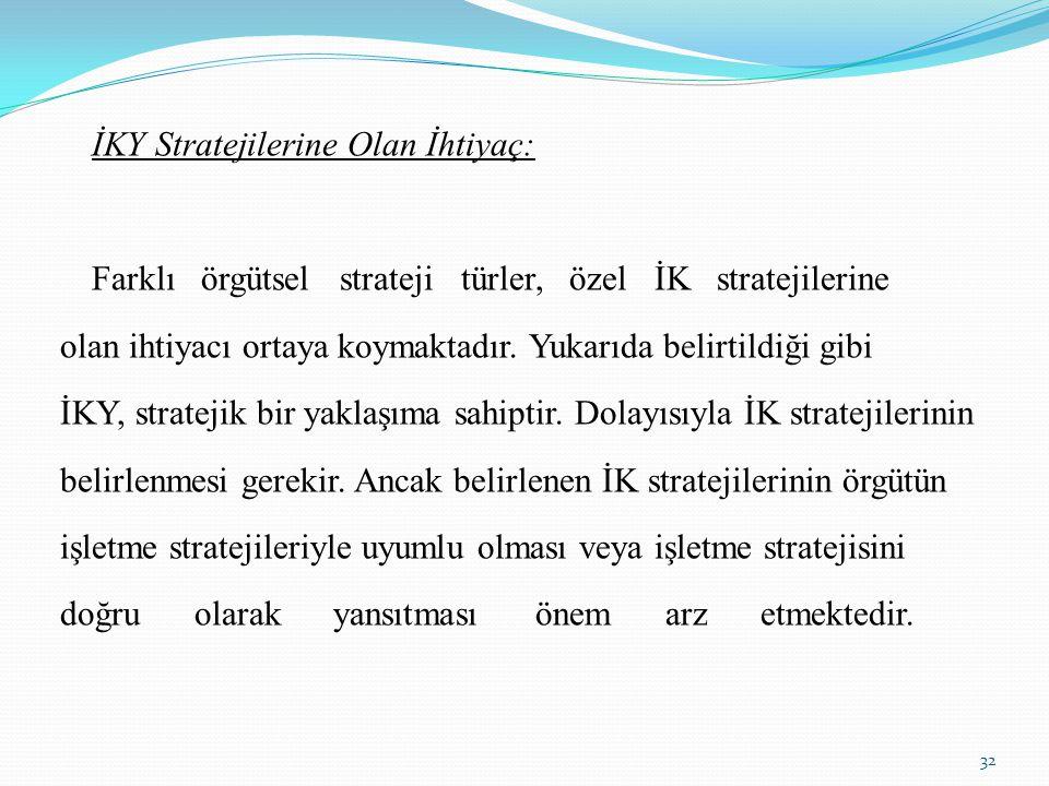 İKY Stratejilerine Olan İhtiyaç: Farklı örgütsel strateji türler, özel İK stratejilerine olan ihtiyacı ortaya koymaktadır. Yukarıda belirtildiği gibi