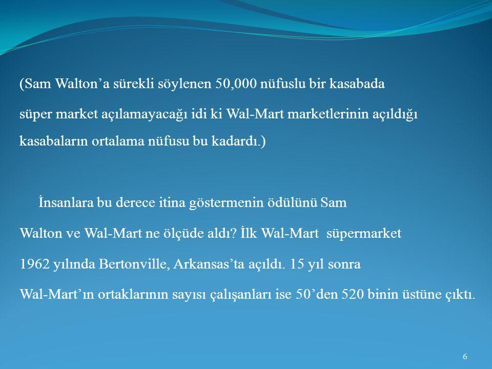 (Sam Walton'a sürekli söylenen 50,000 nüfuslu bir kasabada süper market açılamayacağı idi ki Wal-Mart marketlerinin açıldığı kasabaların ortalama nüfu