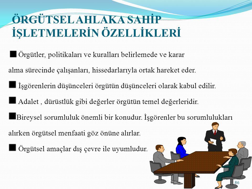 ÖRGÜTSEL AHLAKA SAHİP İŞLETMELERİN ÖZELLİKLERİ Örgütler, politikaları ve kuralları belirlemede ve karar alma sürecinde çalışanları, hissedarlarıyla or