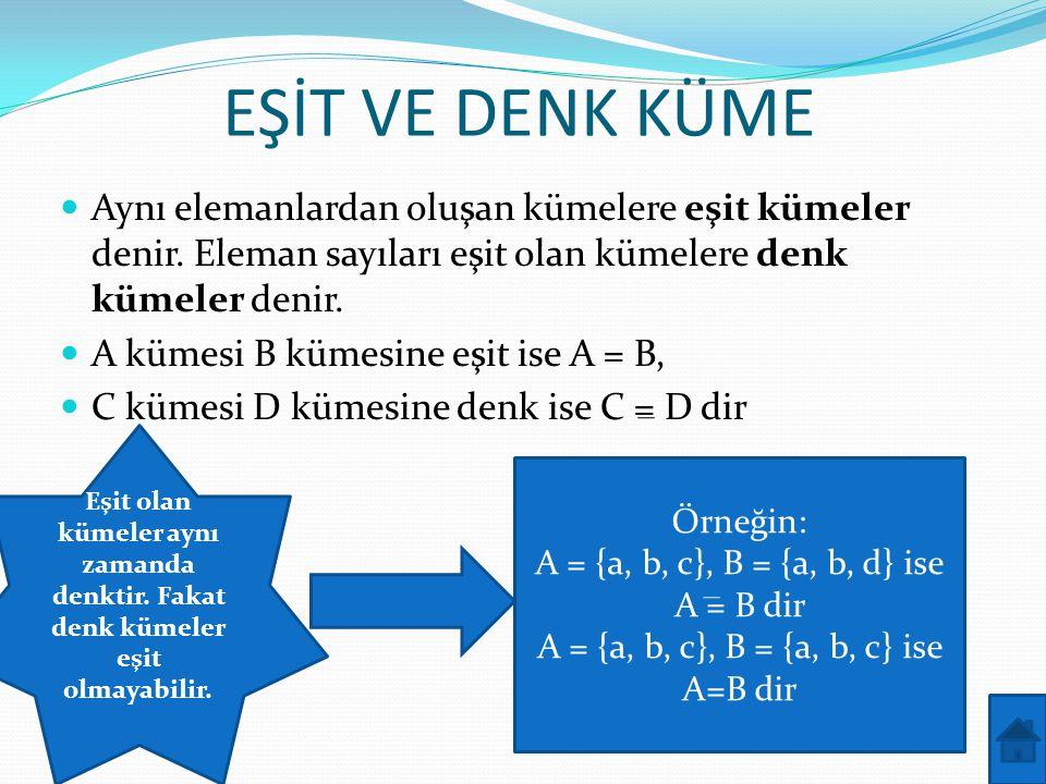 EŞİT VE DENK KÜME  Aynı elemanlardan oluşan kümelere eşit kümeler denir. Eleman sayıları eşit olan kümelere denk kümeler denir.  A kümesi B kümesine